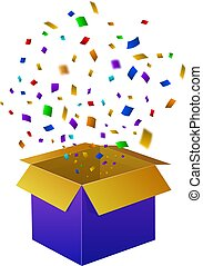 Rainbow Confetti Explosion, VECTOR Box Icon Isolated on White Background.