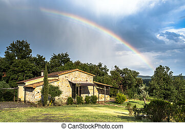 Rainbow cottage in Tuscany, Italy