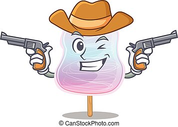 Rainbow cotton candy Cowboy cartoon concept having guns