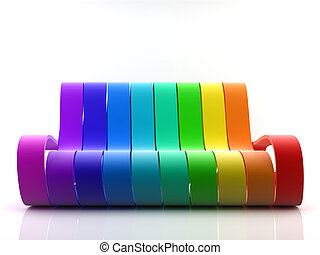 Rainbow couch - Awsome 3d generated rainbow couch on white...