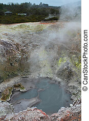 Rainbow Crater - Crater with sulphur formations in Rotorua,...