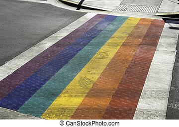 Rainbow Crosswalk in Key West on Duval Street