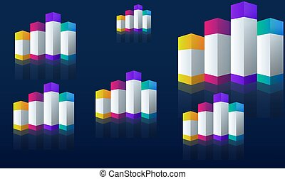 Rainbow cube block on abstract background