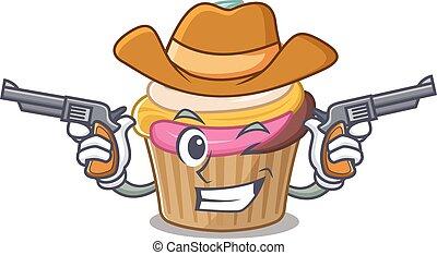 Rainbow cupcake Cowboy cartoon concept having guns