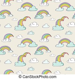 Rainbow - cute seamless pattern