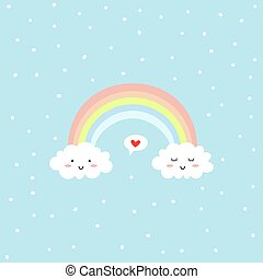rainbow., cute, skyer, card., bubble., valentines, hils, vektor, tale, constitutions, dag