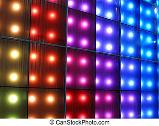 Colorful disco party lighting. different colors (yellow, red, violet, blue). new relaxation party concept.