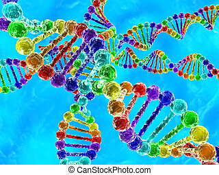 Rainbow DNA (deoxyribonucleic acid) with blue background -...