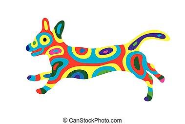 Rainbow dog 2, art vector colorfully abstract design.