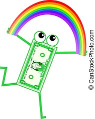 rainbow dollar - Cartoon dollar man holding a rainbow...
