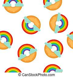 rainbow donut seamless pattern