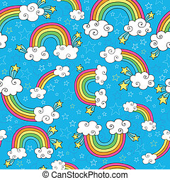 Rainbow Doodles Seamless Pattern - Rainbows Sky and Clouds...
