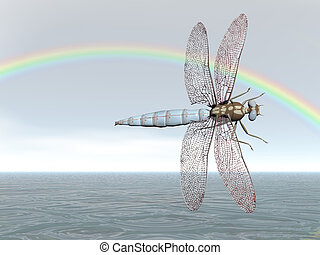 Rainbow Dragonfly - Dragonfly flying under a rainbow