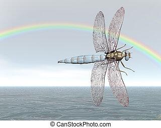Rainbow Dragonfly - Dragonfly flying under a rainbow