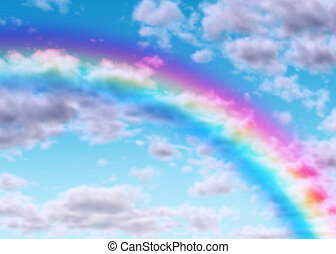 Rainbow arc on a blue sky with clouds as a symbol of success...