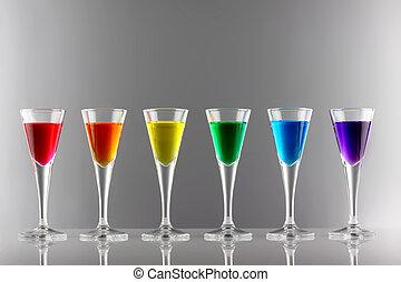 rainbow drinks I - A row of drinks in rainbow colours
