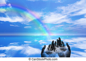 Rainbow ends in Hands