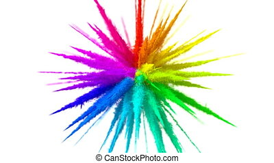 Rainbow Explosion on a White Background, 3d Animation. Ultra HD 4K 3840x2160