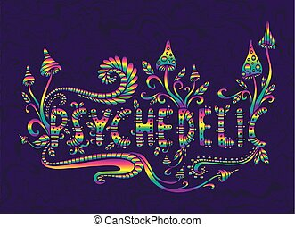 Rainbow fantasy mushrooms, plants and word psychedelic, isolated