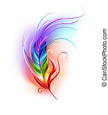 Rainbow Feather on White Background - Artistically painted...
