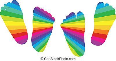 rainbow feet - happy rainbow children's feet