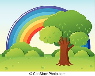 Rainbow field with tree in park
