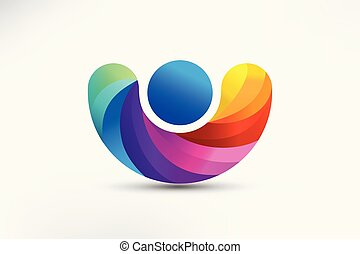 Rainbow figure people logo vector