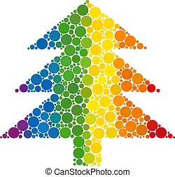 Rainbow Fir tree Mosaic Icon of Spheric Dots