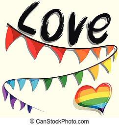 Rainbow flag and heart