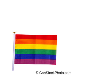 Rainbow flag bright colors standing for LGBT, Human rights and gay pride isolated on white background with copy space, modern design