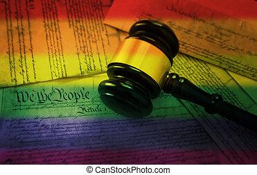 Rainbow flag gavel on America's Constitution - Court gavel...