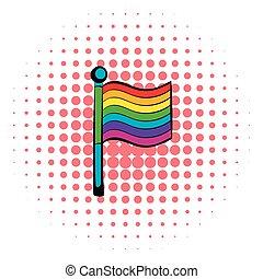 Rainbow flag icon, comics style