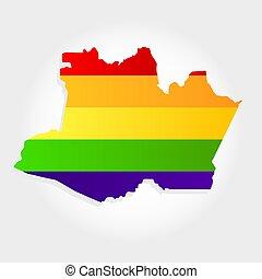 Rainbow flag in contour of Amazonas