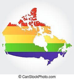 Lgbt flag in contour of Canada with light grey background