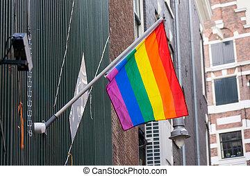 Rainbow flag on the wall