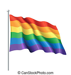 Rainbow flag - Vector illustration of a waving rainbow