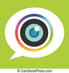 Rainbow Flat Camera Lens Icon and Bubble Speech Background for Mobile Apps