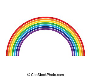 Rainbow flat color lines isolated on white background design element