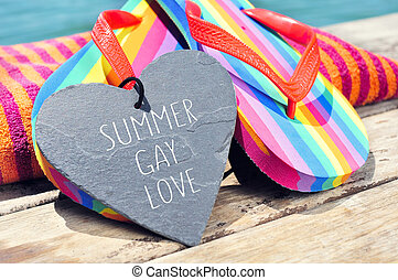 rainbow flip-flops and sentence summer gay love
