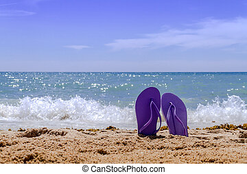 Purple pair of flip flops sticking up on a sandy beach with water and waves crashing on the beach