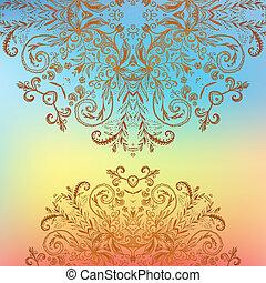 Rainbow floral ornament mandala background card