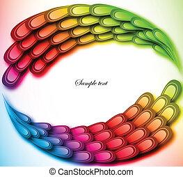 Rainbow floral retro card design. Vector illustration
