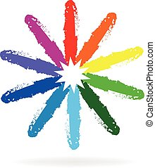 Rainbow flower paint logo