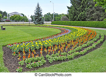 flowerbed shaped and colorful as a rainbow, Royal Botanical Gardens in Burlington Ontario, Canada