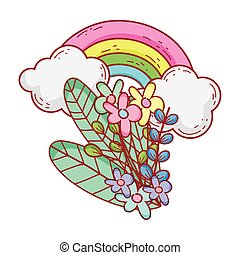 rainbow flowers foliage clouds nature cartoon isolated icon design