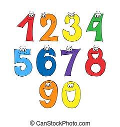 Rainbow font, 123 numeral alphabet. Cartoon kids figures...