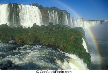 Rainbow formed by the spray of Iguacu Falls, Brazil.