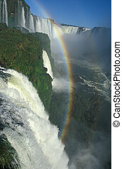 Iguacu Falls - Rainbow formed by the spray of Iguacu Falls,...