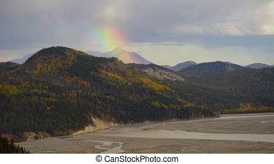 Rainbow Forms Wrangell Mountains Rainstorm River Basin...