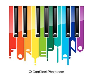 Rainbow fortepiano keyboard - Rainbow paint flows forte...